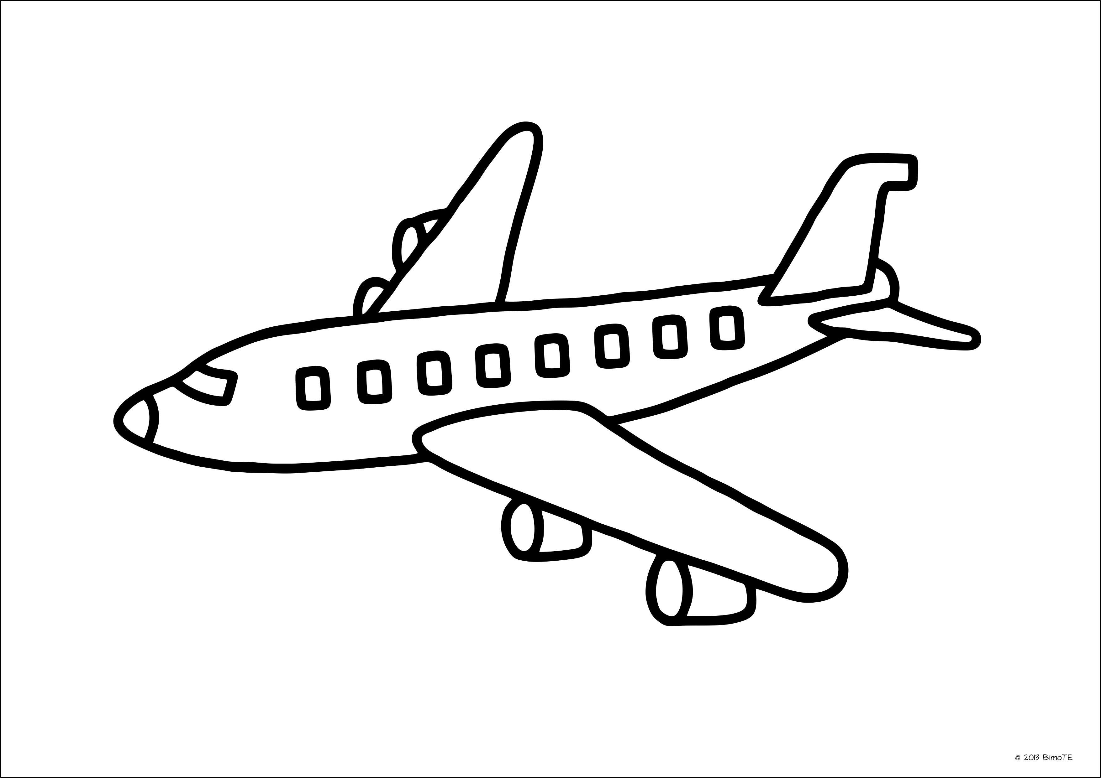 Ausmalbild Flugzeug DIN A4